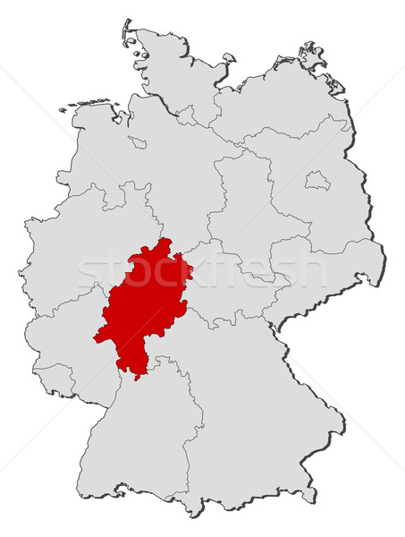 Map of Germany, Hesse highlighted Stock photo © Schwabenblitz