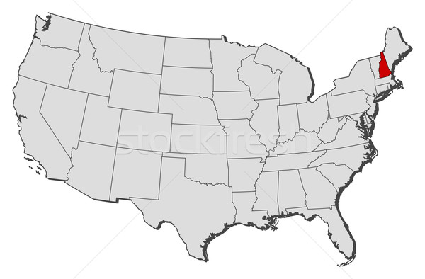 Map Of The United States New Hampshire Highlighted Vector - Where is new hampshire