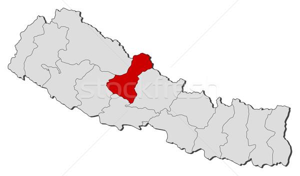 Mapa Nepal político mundo resumen Foto stock © Schwabenblitz