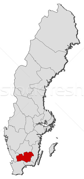 Map of Sweden, Kronoberg County highlighted Stock photo © Schwabenblitz