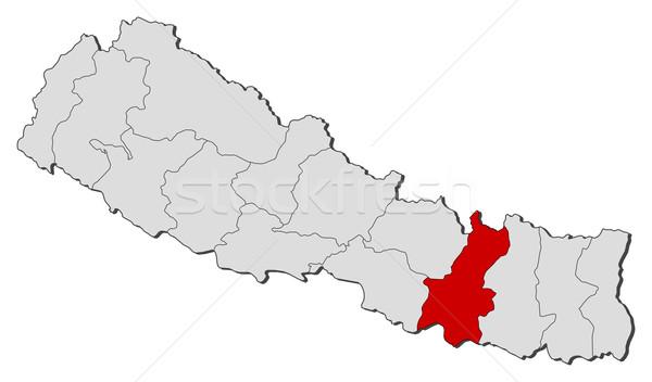 Map of Nepal, Janakpur highlighted Stock photo © Schwabenblitz
