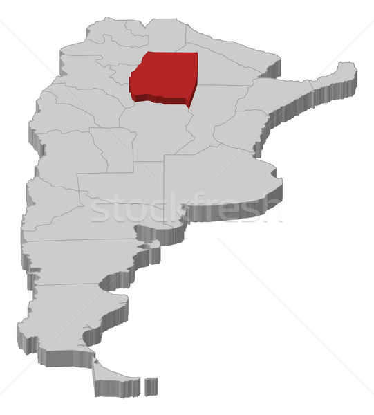Map of Argentina, Santiago del Estero highlighted Stock photo © Schwabenblitz