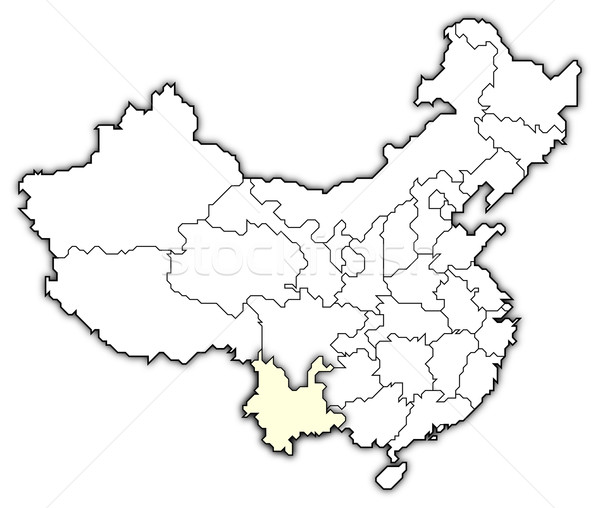 Map of China, Yunnan highlighted Stock photo © Schwabenblitz