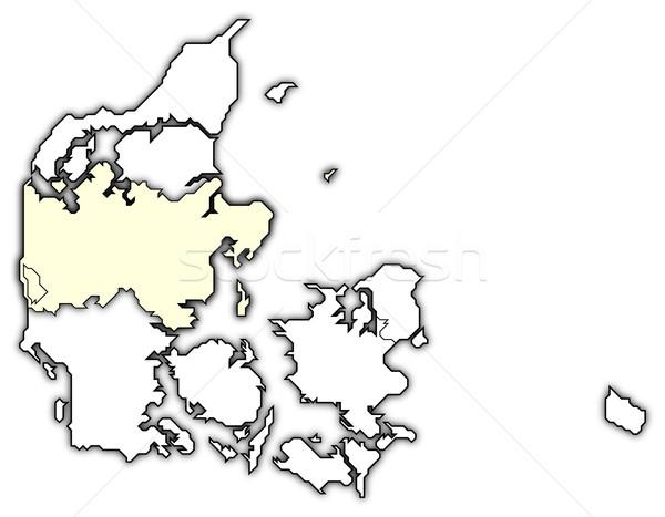 Térkép központi Dánia politikai néhány régiók Stock fotó © Schwabenblitz