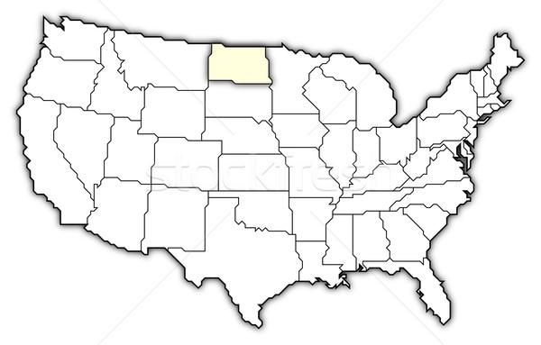 Сток-фото: карта · Соединенные · Штаты · Северная · Дакота · политический · несколько · аннотация