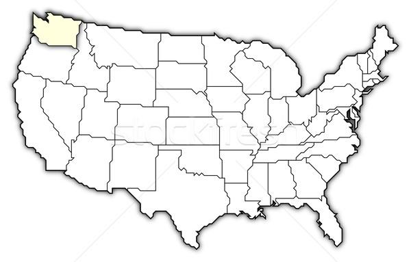 Térkép Egyesült Államok Washington politikai néhány absztrakt Stock fotó © Schwabenblitz