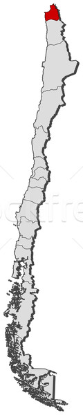 Map of Chile, Arica and Parinacota Region highlighted Stock photo © Schwabenblitz