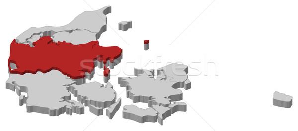 Map of Danmark, Central Denmark highlighted Stock photo © Schwabenblitz