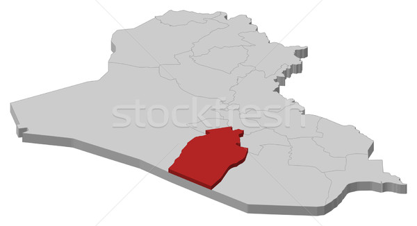 Map of Iraq, Najaf highlighted Stock photo © Schwabenblitz