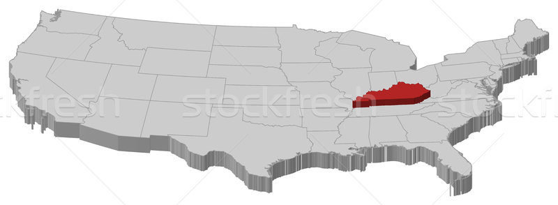 Map of the United States, Kentucky highlighted Stock photo © Schwabenblitz