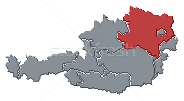 Map of Austria, Lower Austria highlighted Stock photo © Schwabenblitz