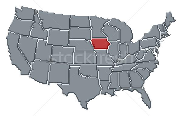 Foto stock: Mapa · Estados · Unidos · Iowa · político · vários · abstrato