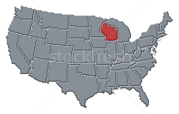 карта Соединенные Штаты Висконсин политический несколько аннотация Сток-фото © Schwabenblitz