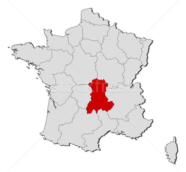 Map of France, Auvergne highlighted Stock photo © Schwabenblitz