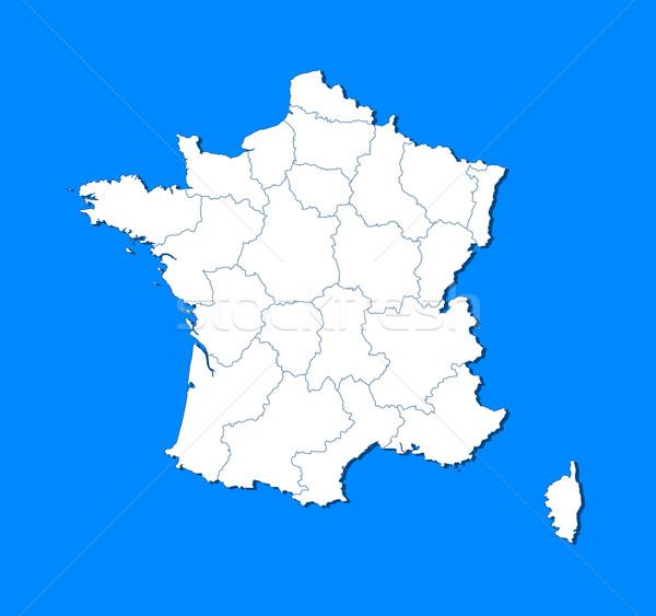 Stockfoto: Kaart · Frankrijk · politiek · verscheidene · regio · abstract