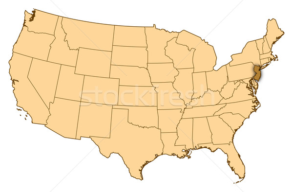 Stockfoto: Kaart · Verenigde · Staten · New · Jersey · abstract · achtergrond · communicatie