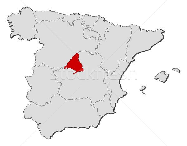 Carte Espagne Madrid politique plusieurs régions Photo stock © Schwabenblitz