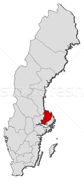 Map of Sweden, Uppsala County highlighted Stock photo © Schwabenblitz