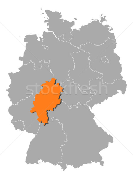 Map Of Europe With Germany Highlighted.Map Of Germany Hesse Highlighted Vector Illustration C Steffen