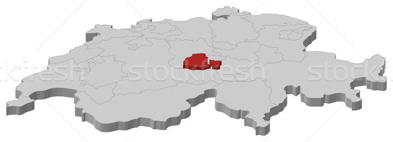 Map of Swizerland, Obwalden highlighted Stock photo © Schwabenblitz