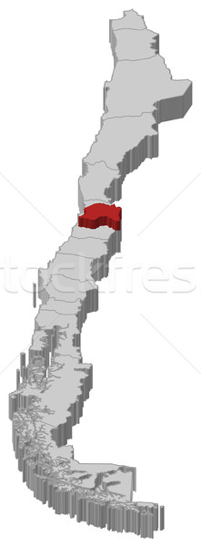 Stock photo: Map of Chile, Metropolitan Region highlighted