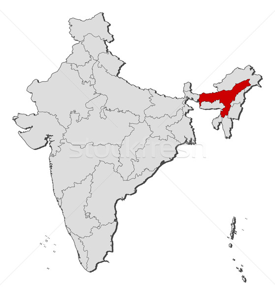Map of India, Assam highlighted Stock photo © Schwabenblitz