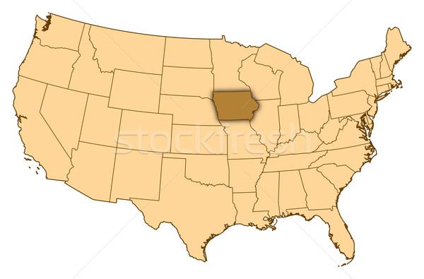 Harita Amerika Birleşik Devletleri Iowa soyut arka plan iletişim Stok fotoğraf © Schwabenblitz