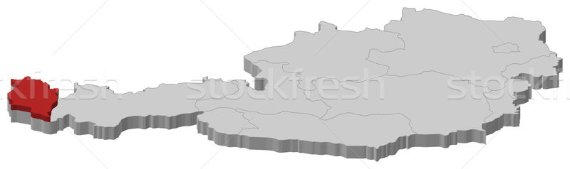 Map of Austria, Vorarlberg highlighted Stock photo © Schwabenblitz