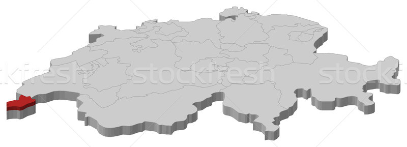 Map of Swizerland, Geneva highlighted Stock photo © Schwabenblitz