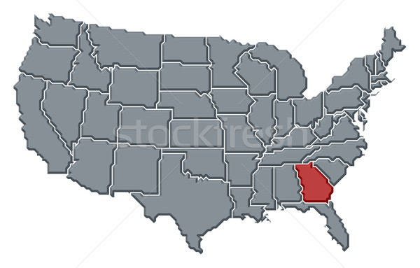 Map of the United States, Georgia highlighted Stock photo © Schwabenblitz
