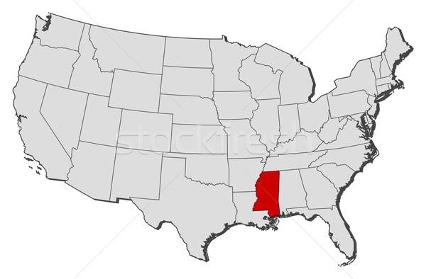 Map Of The United States Mississippi Highlighted Vector - Mississippi on us map