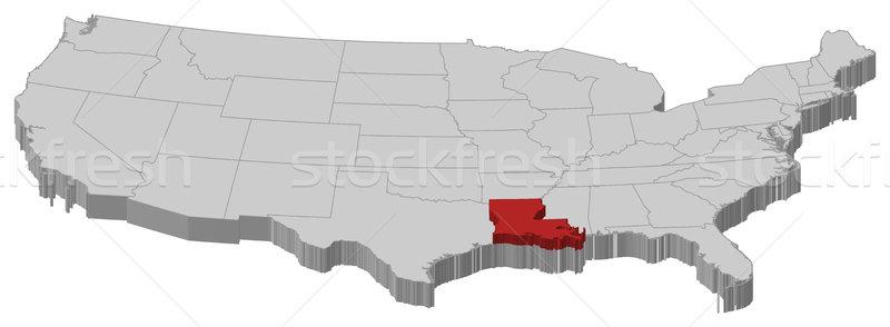 Map of the United States, Louisiana highlighted Stock photo © Schwabenblitz