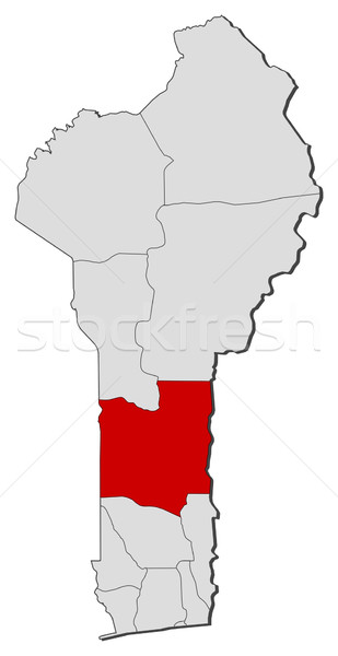 Map of Benin, Collines highlighted Stock photo © Schwabenblitz