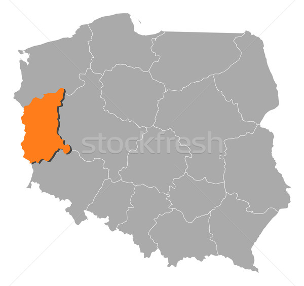 Map of Poland, Lubusz highlighted Stock photo © Schwabenblitz