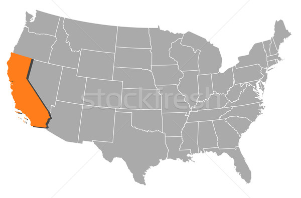 Map of the United States, California highlighted Stock photo © Schwabenblitz
