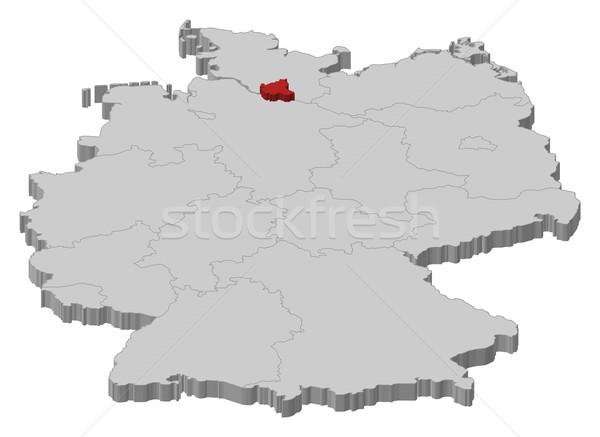 карта Германия Гамбург политический несколько аннотация Сток-фото © Schwabenblitz