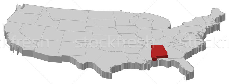 Foto stock: Mapa · Estados · Unidos · Alabama · político · vários · abstrato