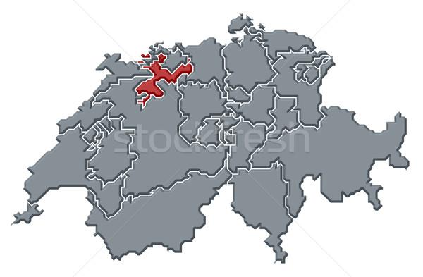 Map of Swizerland, Soleure highlighted Stock photo © Schwabenblitz