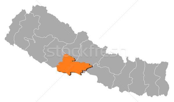 Térkép Nepál politikai néhány absztrakt háttér Stock fotó © Schwabenblitz