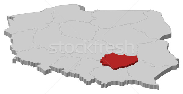 Map of Poland, Swietokrzyskie highlighted Stock photo © Schwabenblitz