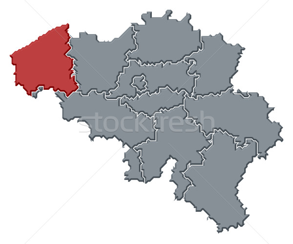 Stock photo: Map of Belgium, West Flanders highlighted