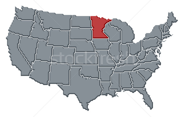 Map of the United States, Minnesota highlighted Stock photo © Schwabenblitz