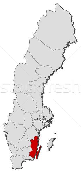 Map of Sweden, Kalmar County highlighted Stock photo © Schwabenblitz