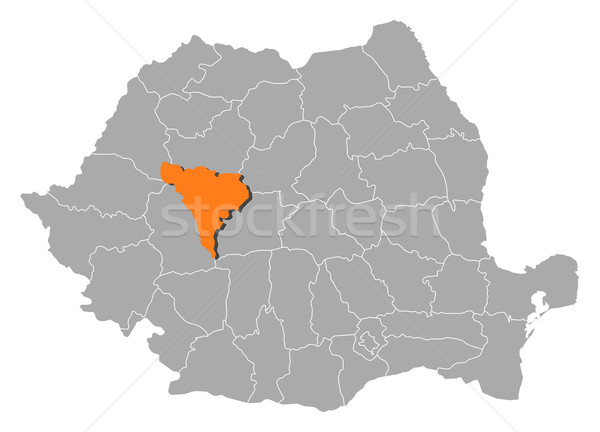 Map of Romania, Alba highlighted Stock photo © Schwabenblitz