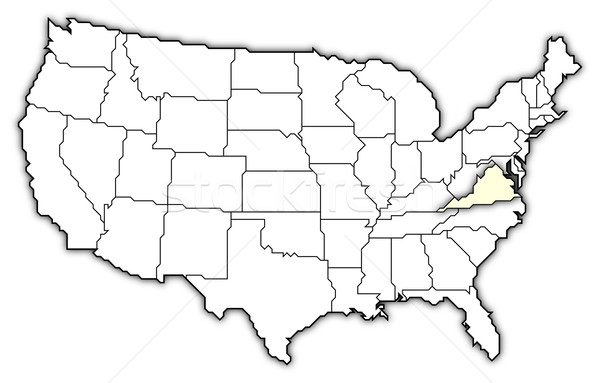 Map of the United States, Virginia highlighted Stock photo © Schwabenblitz