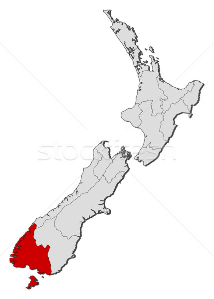 Stock photo: Map of New Zealand, Southland highlighted
