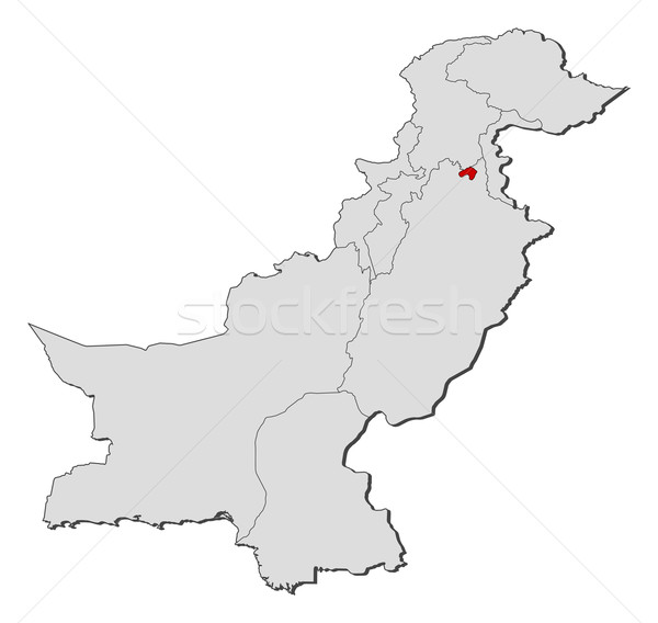 Islamabad Pakistan Map: Map Of Pakistan, Islamabad Highlighted Vector Illustration