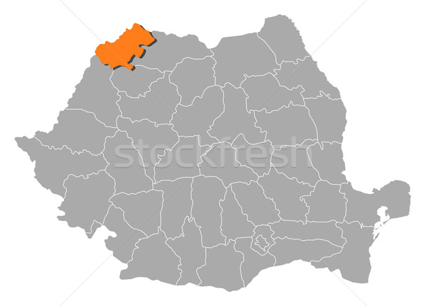 Foto stock: Mapa · Rumania · yegua · político · resumen