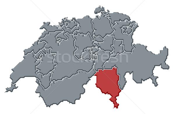 Map of Swizerland, Ticino highlighted Stock photo © Schwabenblitz