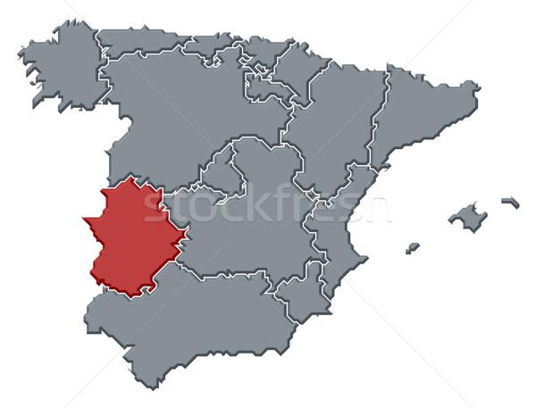 Map of Spain, Extremadura highlighted Stock photo © Schwabenblitz